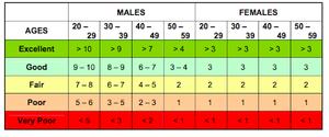 FAMTP Physical Training Assessment Pull-Up Score Chart